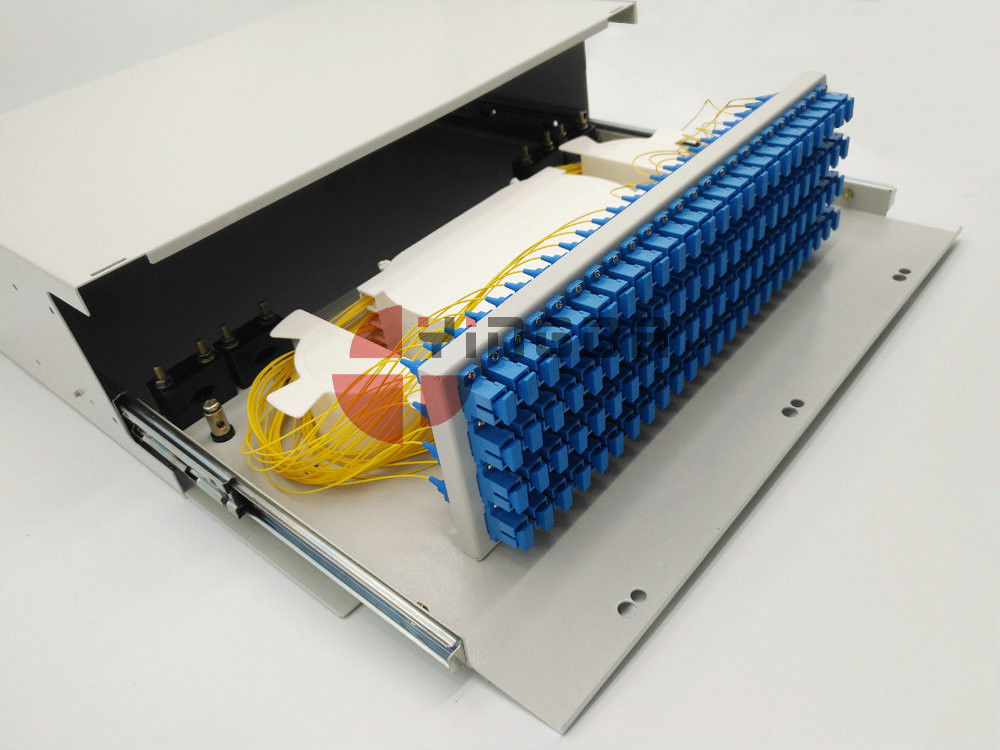 "19"" 4U 96 Port SC Slide Out Drawer Fiber Optic Patch Panel Optical Distribution Box Steel Loaded"