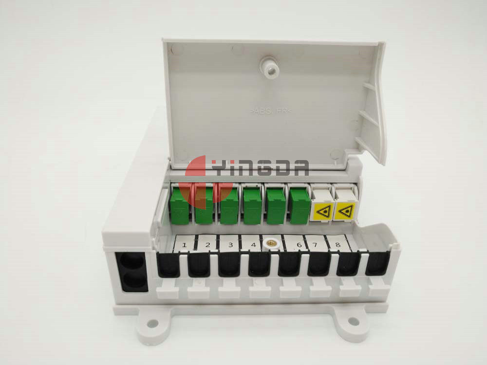 NAP Indoor Fiber Optic Termination Box with 1x8 Splitter White FTTH SC/UPC Connectors