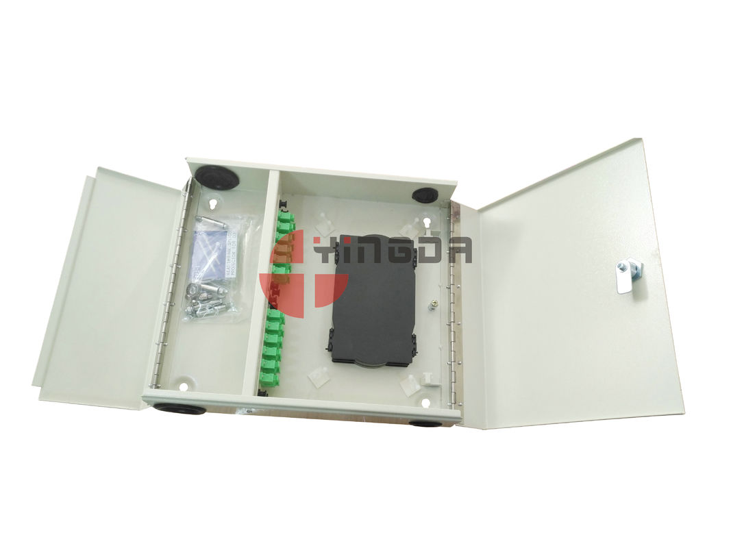 Waterproof 4 Ports 2 Door Fiber Optic Patch Panel ODF Wall Mounted With SC/APC adapters