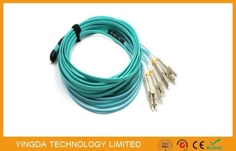 MPO- 8 LC 3 MTP MPO Cable Patch Cord With QSFP +  SR4 Optical Transceivers